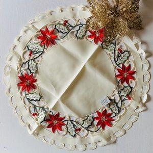 Red poinsettia embroidered & cutwork linen